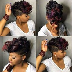 Hair Style Hub 20 Badass Mohawk Hairstyles For Black Women Short Sassy Hair, Short Hair Cuts, Curly Short, Love Hair, Gorgeous Hair, Curly Hair Styles, Natural Hair Styles, Mohawk Styles, Relaxed Hair