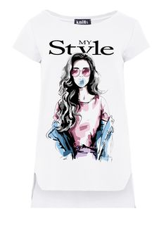 My Style Print Asymmetrical T-Shirt In White Short Sleeve fobya European Fashion, Timeless Fashion, Online Shopping Clothes, White Shorts, Blouses, Clothes For Women, Lady, My Style, Sleeve