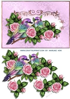 Rainbow Birds   Roses on Craftsuprint designed by Marijke Kok - Gorgeous design with rainbowbirds and pink vintage roses, for anniversary and any other special occasion. - Now available for download!