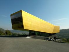 This is the visitor center and observation tower in Nebra, Germany - Holzer Kobler Architects. The concept of a bold form cantilevering into space like this magnificent building is the main inspiration for the Cliffhanger Residence