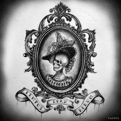 Tempus Edax Rerum by VaeNoxx on DeviantArt Cameo Tattoo, I Tattoo, Dream Tattoos, New Tattoos, Tatoos, Vintage Mirror Tattoo, Spiegel Tattoo, Picture Frame Tattoos, Tattoo Lettering Design