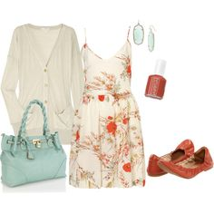 poppy print dress, and my latest color-combo crush, tiff blue with coral