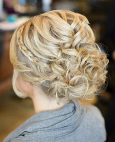 Possible bridesmaid hairdo for December? A Curly Updo With a Thin Braided Band. Adorning your classic curled updo with a thin braid adds a glamorous touch. Wedding Hairstyles For Long Hair, Wedding Hair And Makeup, Up Hairstyles, Hair Makeup, Curly Hair Updo Wedding, Evening Hairstyles, Formal Hairstyles, Bridal Hair, Curly Hair Braids