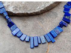 Beautiful Necklace Gemstone Lapis Lazuli Beads AAA Quality 8.5'' Inches 37 Pieces Beads Jewelry Beads Rectangle Shape Beaded Jewelry, Beaded Necklace, Unique Jewelry, Semi Precious Beads, Beading Supplies, Rectangle Shape, Lapis Lazuli, Beautiful Necklaces, Gemstone Beads