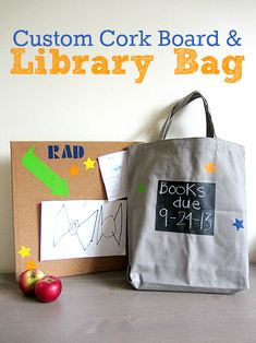 How cool: a chalkboard library bag - write when the books are due back right on the bag.