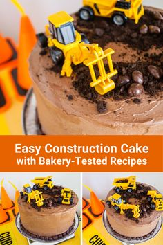 Make this easy construction birthday cake for boys and girls! This simple DIY construction cake uses bakery-tested recipes for a vanilla cake and chocolate icing, and uses construction cake toppers that kids can play with after the party. Try these construction cake ideas for a 3rd birthday, 2nd birthday, or 1st birthday party theme! #construction   #birthday #constructioncake #birthdaycake #cakes #cake #birthdayparty 1st Birthday Party Themes, Construction Birthday Parties, Construction Party, 3rd Birthday, Birthday Ideas, Theme Ideas, Party Ideas, Happy Birthday Printable, Buttercream Recipe