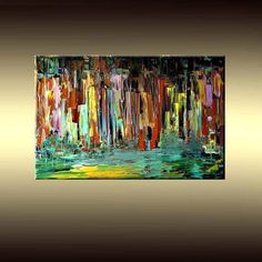 Original Contemporary Modern Impressionist Cityscape Painting 24X36 GALLERY WRAPPED CANVAS READY TO HANG SOLD