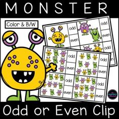 Teach your students to recognize odd and even numbers with this fun monster count and clip resource! Two odd or even activities are included, and children should use a clothespin to select the correct answers. FUN hands-on learning for your math centers!