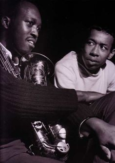 Hank Mobley and Lee Morgan at Mobley's A Caddy for Daddy session, Englewood Cliffs NJ, December 18 1965 (photo by Francis Wolff) Jazz Artists, Jazz Musicians, Francis Wolff, Jazz Radio, Hard Bop, Musician Photography, Lee Morgan, Miles Davis, Jazz Blues