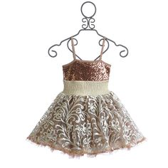 Ooh La La Couture Rose Gold Girls Party Dress Wow Pouf ($116) ❤ liked on Polyvore featuring baby