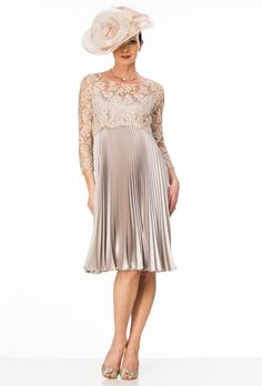 Knee length sunray pleated dress with beaded lace top