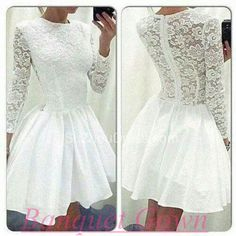2016 A-Line Long Sleeve Lace Homecoming Dress White Short Cocktail Dresses Homecoming Gowns For Teens