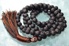 Solar Plexus Third Chakra Copper Skull Basalt Lava rock Mala Beads for Self Esteem, Strong Will power, Vitality, Desire, Identity, Vitality
