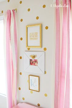 Gold & Pink Polkadots in a Girl's Room