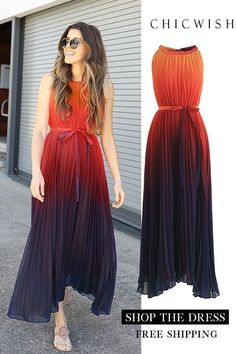 Splendor of the Sunset Gradient Pleated Maxi Dress Stylish Dresses, Stylish Outfits, Fashion Dresses, Pretty Dresses, Beautiful Dresses, Tie Dye Outfits, Maxi Robes, Pleated Maxi, Fashion Mode