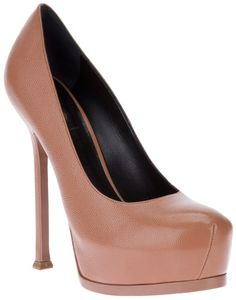 Saint Laurent 'Tribtoo' pump on shopstyle.com Love these #YSL #Nude #Tribtoo #Pumps! This style is iconic and makes the legs look awesome! #long and #lean