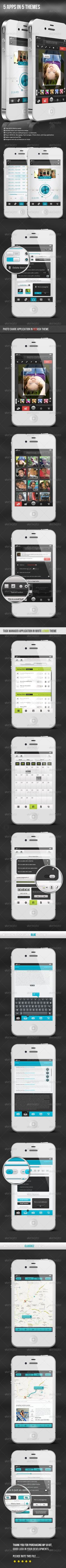 5 IOS Apps in 5 Fascinating Themes - UI Kit - GraphicRiver Item for Sale