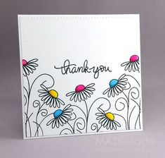 This week's Splitcoaststampers Featured Stamper is Her gallery is full of fun, clever projects and I chose this one as my inspiration: I focsued on Amy's: -outline floral images with colou drawing - Thank You (MASKerade) Tarjetas Diy, Art Carte, Karten Diy, Envelope Art, Your Cards, Diy Cards Thank You, Cards Diy, Thank You Ideas, Thank You Greeting Cards