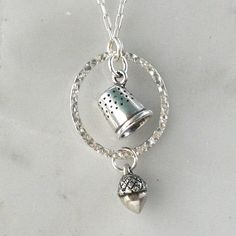 Peter Pan Necklace with Acorn and Thimble Charms Solid Sterling Silver