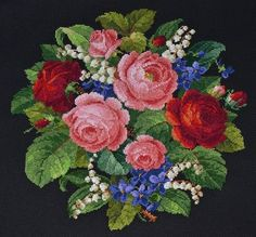 This Pin was discovered by Yes Cross Stitch Rose, Cross Stitch Flowers, Cross Stitch Charts, Cross Stitch Embroidery, Cross Stitch Patterns, Black And White Flower Tattoo, Acrylic Painting Flowers, Vintage Cross Stitches, Tapestry Fabric