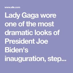 Lady Gaga wore one of the most dramatic looks of President Joe Biden's inauguration, stepping out to sing the national anthem in a custom Schiaparelli Haute Couture dress. She explained the meaning of her dove pin. Haute Couture Looks, Haute Couture Dresses, Singing The National Anthem, May We All, Hunger Games Mockingjay, Shark Fin, Star Spangled Banner, Dramatic Look, Joe Biden