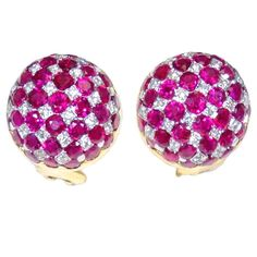 Ruby Diamond Gold Platinum Earrings | From a unique collection of vintage more earrings at https://www.1stdibs.com/jewelry/earrings/more-earrings/