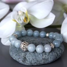 Aquamarine and sterling silver bracelet by BirdieandBirdie on Etsy