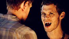 "Cranky hybrid vampire Klaus in ""The Vampire Diaries""."
