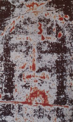 Photograph of the Face of the Man in the Holy Shroud of Turin emphasizing the blood marks