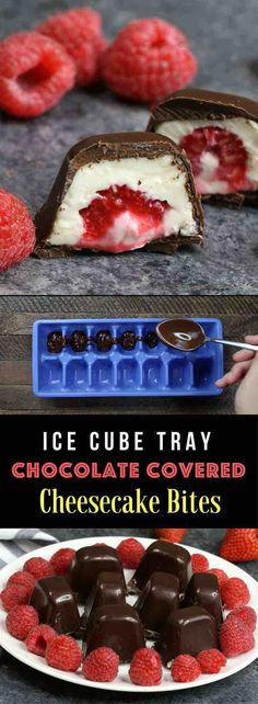Raspberries Stuffed in smooth and creamy mini cheesecake bites, and then covered by chocolate. The ice cube tray makes it so easy and fun to make! All you need is a few simple ingredients: raspberries, chocolate, cream cheese, sugar, vanilla and whipped cream. An easy recipe that makes a great finger food dessert for parties, brunch, Mother's Day or as an afternoon snack! Party food, no bake, party dessert recipes. Video recipe. | Tipbuzz.com