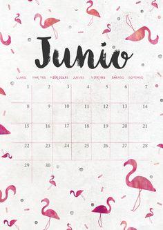 calendario de junio: imprimible y fondo