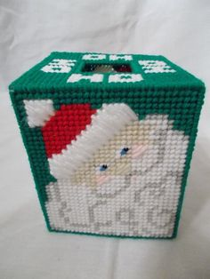 Items similar to HO HO SANTA 2 - Boutique Size Tissue Box Cover - Christmas Decor - Handmade - Creative Art on Plastic Canvas on Etsy Plastic Canvas Tissue Boxes, Plastic Canvas Crafts, Plastic Canvas Patterns, Box Patterns, Quilt Patterns, Stitch Patterns, Tissue Box Covers, Tissue Holders, Card Holders
