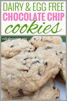 Dairy & Egg Free Chocolate Chip Cookie Recipe at Milk Allergy Mom. Egg Free Recipes, Cookie Recipes, Vegan Recipes, Dairy Free Baking, Milk Allergy, Cookies For Kids, Recipe For Mom, Food Allergies, Chocolate Chip Cookies