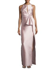 TBZ1H J. Mendel Pleated-Waist Column Gown, Rose