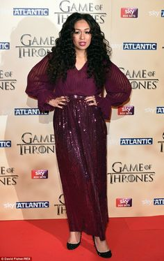Plum party: Rebecca Ferguson went all out in purple sequins and sheer shirt on the red carpet for Game Of Thrones season five premiere at the Tower Of London on Wednesday night