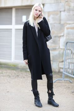 Cool combat boots.  - Model #Streetstyle at Paris Fashion Week #PFW