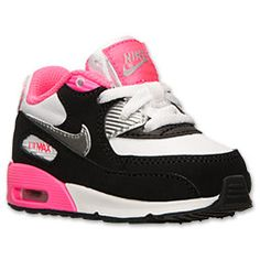 Girls' Toddler Nike Air Max 90 Running Shoes | Finish Line | White/Metallic Silver/Hyper Pink