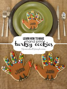 Handprint Turkey Cookies Recipe for Thanksgiving - 13 Most Adorable Thanksgiving Treats for the Kids Table