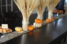 Wheat in mason jars and pumpkins--so easy