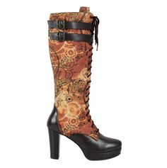 Eubllient Steampunk Boot Tan Water Repellent Printed Cotton Boot Heel Length: 4 inches (10.16 cm) Front: Lacing Fabric: Printed Cotton & Faux Leather Openin