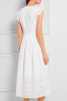 Madewell | Dinah broderie anglaise-trimmed linen and cotton-blend midi dress | NET-A-PORTER.COM