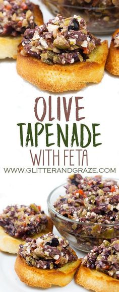 Olive Tapenade This olive tapenade is a great appetizer to serve at your next party or just over a glass of wine. This is a blend of olives and feta cheese topped on some toasted baguette. The post Olive Tapenade appeared first on AllRecipes! Appetizers For Party, Appetizer Recipes, Wine Appetizers, Healthy Appetizers, Cheese Appetizers, Wine Recipes, Cooking Recipes, Appetisers, Clean Eating Snacks
