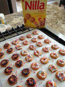 Nilla wafer donut cookies!  Easy, fun and so cute... Perfect for a Donut birthday party!  #donuts