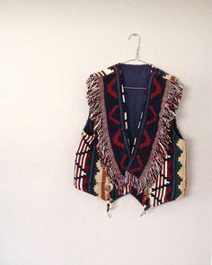 Indie Boho Vest with Fringe and Beads // by HappyMondayVintage, $46.90