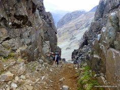 The final moves up the gully to the Bealach Coire na Banachdaich