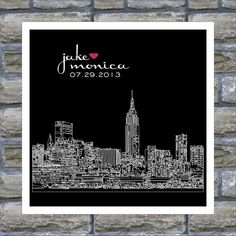 Wedding Gift- City Skyline Silhouette Personalized Art Print -New York City - Any City Available. $18.00, via Etsy.