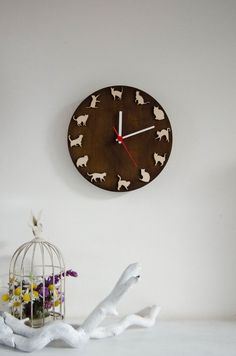 SALE 20% Cat clock wood wall clock gift for pets lovers, playing cats, ideas for kids