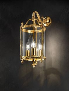 Classic wall lamp, lantern in polished golden brass, floral moldings, 3 candle effect bulbs Murano Glass, Classic Lighting, Classic Style, Sconces, Wall Lights, Chandelier, Brass, Candles, Crystals
