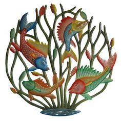 Painted Fish Metal Wall Sculpture, $85.00