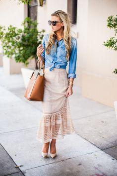 Champagne lace peplum midi skirt + chambray top